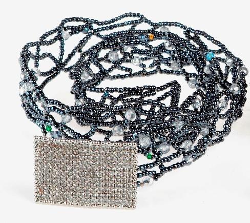 Metal Rectangular Crystal Hematite Belt