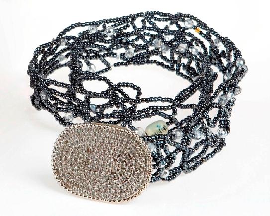 Metal Pearl Oval Hematite Belt